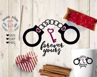 handcuffs svg, Forever Yours Handcuffs with Heart Key Cut File in SVG, DXF, PNG, valentine's svg, love svg file, handcuffs love svg, dxf