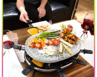 Deluxe 8 Person Raclette Natural Stone Grill Set Electric BBQ with 8 Raclette Mini Pans 8 Spatulas Hotplate