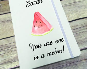 Personalised Lined Notepad- Gift - Present - Melon DD280