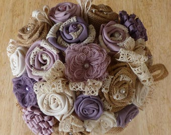 Fabric and lace bridal bouquet
