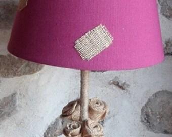 Lamp with burlap flowers