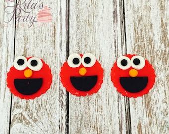 12 Sesame Street Elmo Fondant Edible Cupcake Toppers Birthday Baby Shower