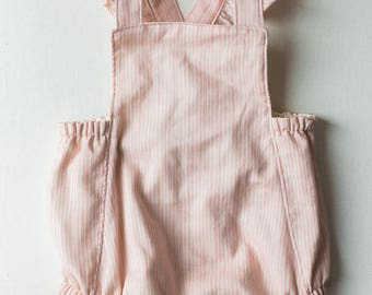Ready to Ship Pink Stripe Baby Romper size 6-12mo