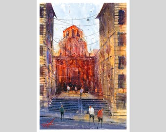 Fine Art Print of My Italian Naples Watercolour Painting Signed City scape Scene Urban Giclee High Quality Vibrant Impressionist Landscape