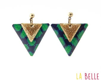 Earrings resin triangle pattern Navy tropical fern / enamel and green glitter
