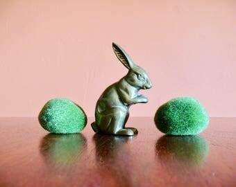 Brass Rabbit Bunny, Paperweight Desk Decor, Rabbit Figurine, Nursery Storybook Decor, Vintage Easter Bunny, Boho Brass Animal