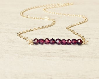 Garnet Gemstone Bar Necklace