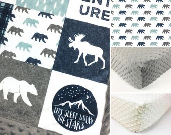 ADVENTURE CRIB SET, baby minky bedding, moose bear bedding set, mint gray woodland crib set, happy camper mountain baby blanket baby shower