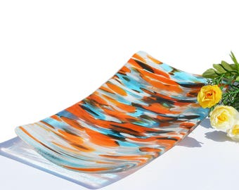 Large Abstract Glass Sushi Dish Plate   Orange Turquoise Modern Decor Accent Piece   Abstract Glass Art Tray   Gifts On SALE