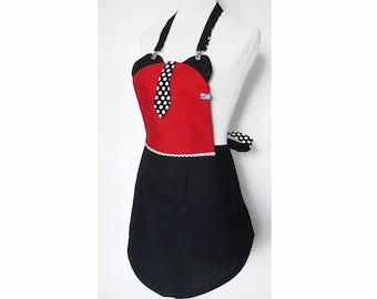 Red and black kitchen apron with tie