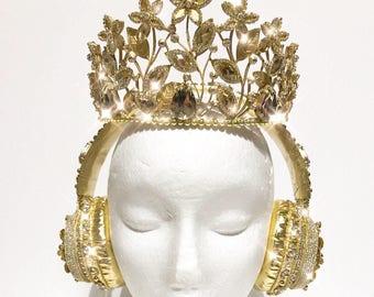 HEADPHONES and CROWN gold rhinestones crystals tiara decorated embellished handmade bespoke hairjewellery