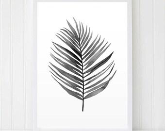 Palm leaf Print. Black White Leaf. Tropical Print. Kitchen Wall Art. Botanical Illustration. Plant Print. Tropical Leaf. Printable Wall Art.