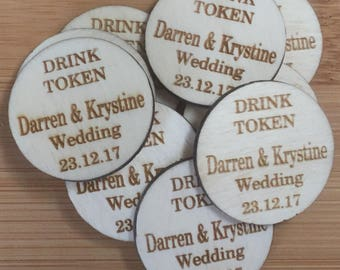 Personalised Drink Token Wedding Party Favour Names Wedding Date Party Date Age