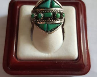 Vintage Zuni Signed R L Sterling Silver Turquoise Ring Size 5.