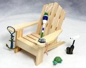 Beach Dreams Coastal Kit - Miniature Adirondack Chair, Buoy, Anchor, Compass, Bird, Turtle - Tabletop Scene, Home or Office, Free Shipping