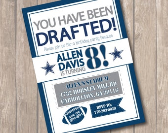 Dallas Cowboys Inspired Birthday Party Invitation