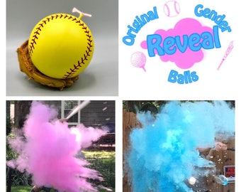 Exploding Softballs Gender Reveal Combo: Blue, Pink, and Practice Ball Gender Reveal Softball