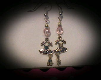 Ballerina earrings sliver charms w/pink bead accents.