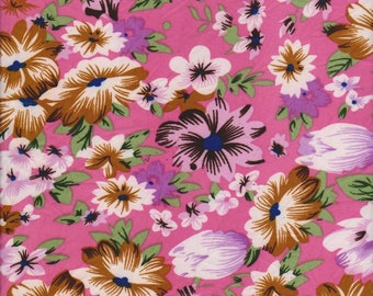 Spring Flowers - Pink - Double brushed - Poly Lycra - stretch - knit - fabric - four way stretch - pretty floral - floral fabric