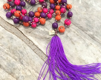 orange necklace acai, natural, fuschia purple seed beads acai seeds Amazon forest, buddha mala