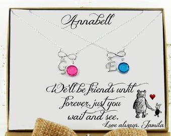 Best friend Gift for Best friend Necklace for 2 Winnie the pooh Best friend birthday Long distance Friend Best friend gift Going away gift