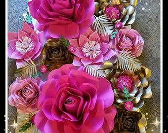Pink and Rosey 10 peice paperflowers backdrop decorations