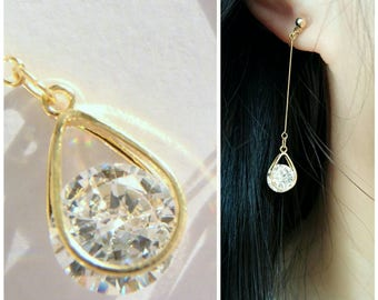Long Dangle CZ Crystals Invisible clip on earrings,Gold,CZ crystal in tear drop frame,Dangle clip on earrings, Non Pierced earrings