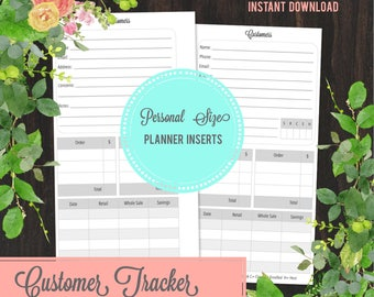 Customer Organizer for Direct Sales/Network Marketing, Personal Planner Insert, Personal Planner Travelers Notebook Insert, Printable Insert