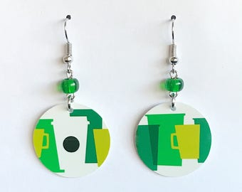 Upcycled Card Earrings - Green Starbucks