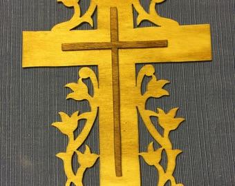 Flower wooden cross