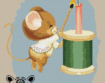 """Embroidery pattern """"Mouse with a coil"""" (DMC palette)"""