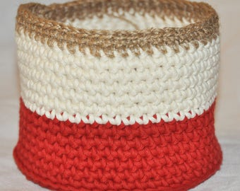 Basket or planter, cotton and hemp cord