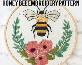 June Honey Bee Embroidery Pattern with Floral Wreath, Downloadable PDF