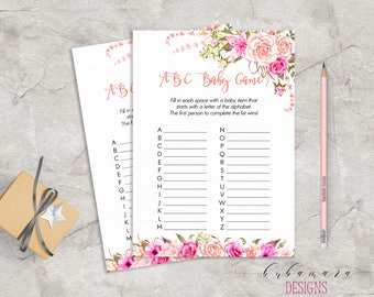 Baby Shower ABC Baby Game Game Pink Floral Baby Game Trivia Pink Roses Baby Shower ABC Game Card Digital Printable Baby Activity - CG017