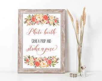Printable Photo Booth Wedding Sign Coral Peach Pink Grab a Prop Strike a Pose Digital Wedding Decor Poster Signage 5x7 8x10 A4 - WS040