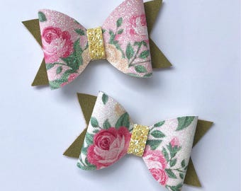 Spring Rose Print Glitter + Sage Green Glitter Faux Suede Hair Bow // Pink White Floral Glitter Hair Bow // Girls Baby Toddler Bow Headband
