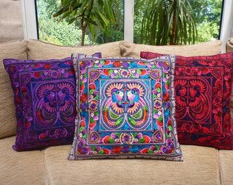 Embroidered cushion cover, boho cushion, bohemian decor, Thai cushion, Hmong cushion, bohemian cushion, colourful cushion