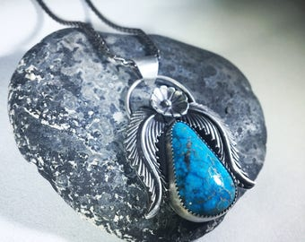 Turquoise + Sterling Silver Flower and Leaf Pendant