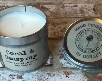 Coral & Seaspray Hand Poured Soy Wax Candle With Cotton wick. Made in Dorset