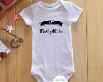 Say Masha'allah (TM)  Baby Bodysuit; Muslim Baby Gift - Muslim baby gift - muslim baby grow - muslim baby vest - muslim newborn gift