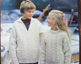 Popplrtons Aran Type Knitting Pattern 1486- Childrens Sweater & Jacket 22-34 inches , aran style , cable jacket, zipper jacket