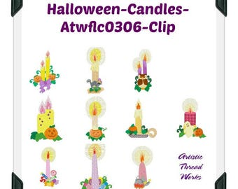 Halloween-Candles ( 10 Machine Embroidery Designs from ATW ) XYZ17I