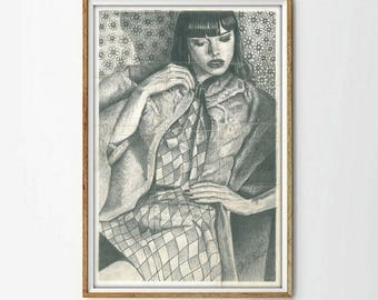 Original drawing graphite, pencil woman illustration, contemporary art, living room decoration, gift lover art, original pencil drawings.