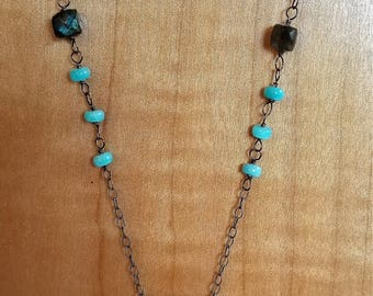 large labradorite/amazonite/sterling silver chain