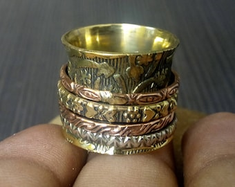 4 spinning rings band | Tribal brass band ring | Valentine days gift for her | Prayer ring | Yoga ring | Anniversary gift jewelry ring |R173