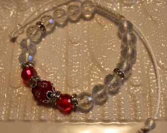 Elegant Crystal & glass-beaded bracelet; handmade, shamballa, beadweaving, cute, red, green, clear, casual-wear, party-wear