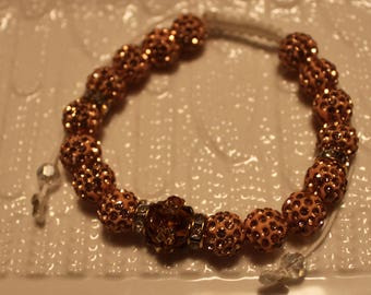 Cute Czech crystal disco-ball Rhinestone-beaded bracelet in peach color; shamballa, beadweaving, handmade, beautiful, brown