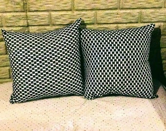 Checkered Ankara throw pillow (set of 2)