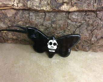 Handmade ceramic death moth decoration