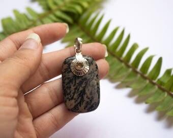 Jasper Pendant Necklace in Sterling Silver, Bown Jasper, Picture Jasper Natural Stone Pendant, Gift for Birthday, Gift Anniversary Handmade